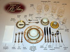 Most comprehensive traditional formal place settings. Exact placement for every piece of silver, glass or crystal. Comment Dresser Une Table, Royal Table, Deco Restaurant, Dining Etiquette, Table Setting Etiquette, Formal Table Settings, Table Place Settings, Etiquette And Manners, Table Manners
