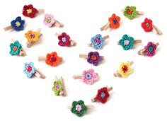 Crochet Tyny Flowers & Peg  ❥ 4U // hf