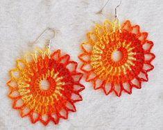 Items similar to Orange crocheted Halloween earrings Handmade in Iceland and ready to ship on Etsy Crochet Jewelry Patterns, Crochet Earrings Pattern, Crochet Accessories, Textile Jewelry, Fabric Jewelry, Thread Crochet, Knit Crochet, Lace Earrings, Crochet Gifts