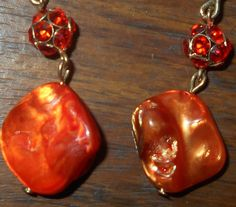 Vintage Orange Stones Large Hooks Dangle Earrings by VintageVarietyFinds on Etsy