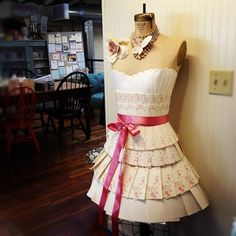 Dress made from wedding invitations