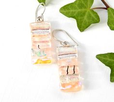 Dichroic Glass Dangle Earrings - Fused Glass Jewelry - Coral Pink Art Glass Textured Drop Earrings on 925 Sterling Silver Earwires by TremoughGlass on Etsy