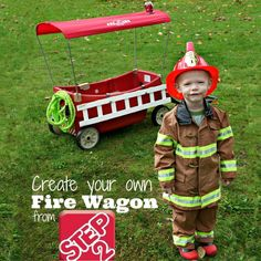 Turn the wagon into a fire truck for Halloween! I may have to dress the kids as fire fighters!