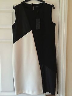 M & S Ladies Black & White Dress by Autograph - Size 10 - BNWT