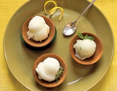 This fragrant sorbet can be served as an intermezzo to cleanse the palate and stimulate the appetite, or be presented, instead, with not-too-sweet cookies for a light dessert. Add fresh herbs to the sorbet to give this treat an unexpected twist. Recipe: Lemon Sorbet - CountryLiving.com