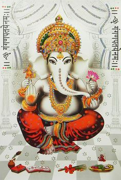 Lord Ganesha - (Poster with Glitter) (Reprint on Paper - Unframed))