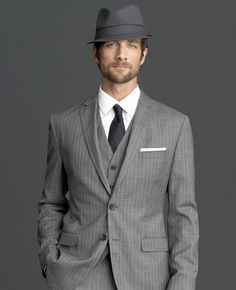 Banana Republic men's suit. boldfaceresumes.com note: PLEASE do not wear the hat to an interview.  Too much.