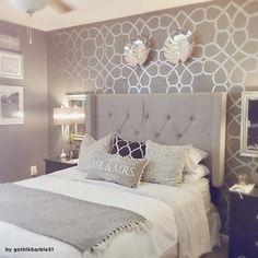 coco-trellis-wall-stencil-pattern-DIY-decor You are in the right place about wallpaper accent wall n Glam Bedroom, Home Decor Bedroom, Diy Home Decor, Bedroom Ideas, Diy Bedroom, Silver Bedroom Decor, Large Bedroom, Design Bedroom, Wall Paper Bedroom