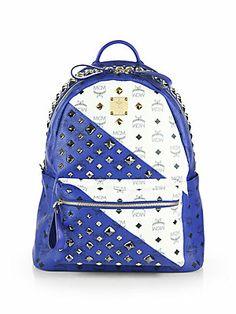 MCM Studded Medium Coated Canvas Bicolor Backpack ($1130) ~ Saks Fifth Avenue