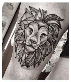 Another head tattoo of a lion, half geometric, half realistic...I love it.