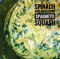 Spinach and Artichoke Spaghetti Squash: I recently visited my Dad's side in Iowa and we had the whole crew over for dinner (hungry farmers included). I roasted 2 spaghetti squashes and combined the glorious flavors found in spinach and artichoke dip and my Spinach and Artichoke Spaghetti squash was born! I also added chicken to make it more of a heavy meal. Make this, it's farmer approved.