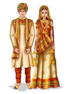 Easy to edit vector illustration of Haryanvi wedding couple in traditional costume of Haryana, India couple animation Easy to edit vector illustration of Haryanvi wedding couple in. Wedding Card Design Indian, Indian Wedding Couple, Indian Bride And Groom, Wedding Couples, India Wedding, Fashion Drawing Dresses, Fashion Illustration Dresses, Fashion Sketches, Wedding Couple Cartoon