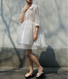 Preorder Lost in Kyoto Spring white or mint transparent fluffy shirt dress
