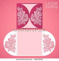 Vector Die Laser Cut Envelope Template With Rose Flower Wedding