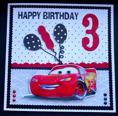 Hand made birthday card using SU Large Number, Cottage Cutz balloons and Disney freebie