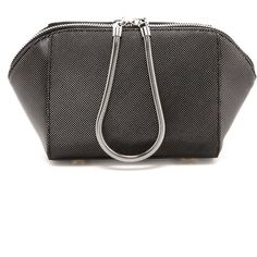 This angular Alexander Wang clutch is crafted in textured, metallic tipped leather. The short snake chain handle connects to a two way zip top, and sturdy feet…