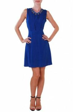 Humble Chic NY Women's Sleeveless A-Line Dress - Pleated Fit and Flare Blue, Royal Blue