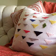 Felt Triangles Pillow Cover, Modern Design on Hopsack, Customized, Personalized, Made to Order, Gift Under 75