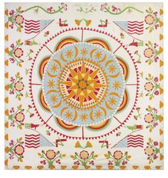 Rare and important pieced and appliqued patriotic compass medallion quilt, signed Martha Hewitt, Michigan, Dated 1855 | Lot | Sotheby's
