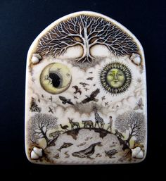 """All Connected""""  wall plaqueA unique wall plaque created in resin from an original engraved carving by Rachel Badeau."""