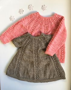 Seraphina Sweater and Dress pattern by Anne Dresow - Knitting patterns, knitting designs, knitting for beginners. Knitting For Kids, Knitting For Beginners, Baby Knitting Patterns, Crochet For Kids, Baby Patterns, Crochet Baby, Knit Crochet, Cardigan Bebe, Baby Cardigan
