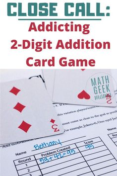 Need a simple way to practice addition? This 2-digit Addition Math Card Game will encourage problem solving, mental math skills and place value understanding. #mathcardgame #addition #mathgame