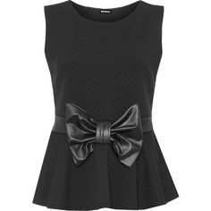 WearAll Plus Size Quilted Bow Peplum Top (90 BRL) ❤ liked on Polyvore featuring tops, shirts, black, peplum tops, quilted shirt, plus size peplum top, bow top, sleeveless tops and no sleeve shirt