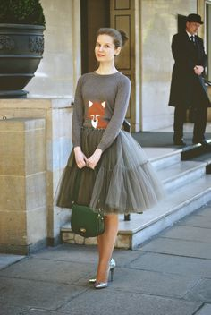 Skirt With Long-sleeve Knit shirt with Fox Logo (either order from custom fabric design or look online for top) - Super Cute! From: How To Wear a Tulle Skirt Ideas - Be Modish - Be Modish Glamouröse Outfits, Dance Outfits, Skirt Outfits, Fashion Outfits, Tule Skirt Outfit, Grey Tulle Skirt, Tulle Dress, Tulle Tutu, Modest Fashion