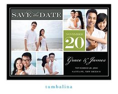 Block Green Digital Photo Save The Date Magnet | Little Angel Announcements