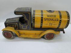 Antique Wind Up Tin Toy Truck TFS Co Strauss Marx Lehmann Water Sprinkler