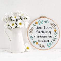 You look awesome Cross Stitch Pattern, floral wreath cross stitch, funny cross stitch, Modern Cross Stitch, Room Wall Decor, flower stitch