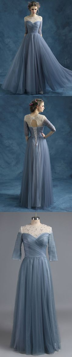 Grey Prom Dresses Long, 2018 Formal Dresses Modest, Scoop Neck Party Dresses Tulle, Beading Evening Gowns 3/4 Sleeve