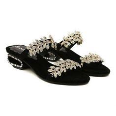 Cheap Wholesale New Arrival Strange Heel and Rhinestones Design Slippers For Women (BLACK,39) At Price 22.36 - DressLily.com