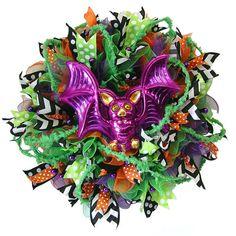 Tutorial for Halloween ruffle wreath and RAZ Bobble Eye Bat