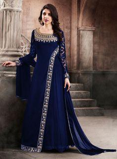 Impressive Ink Blue Anarkali Suit