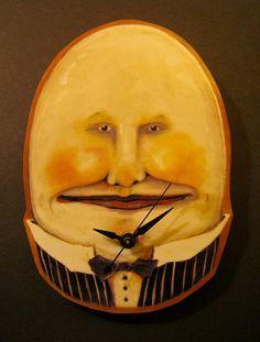 egg art  unique clockwall art Humpty Dumpty art by sandymastroni