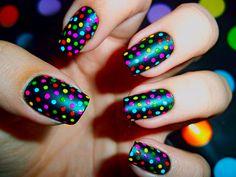 #nails #multicolored #polkadots #black #red #magenta #aqua #green #yellow