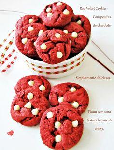 Red Velvet Cookies Com Pepitas de Chocolate Branco