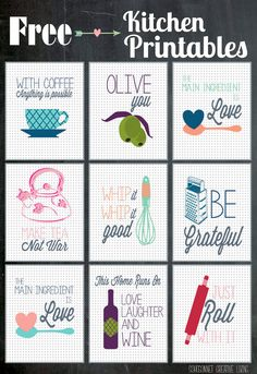 Free Kitchen Printables : from The Happy Housie