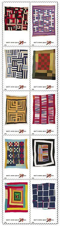 Gee's Bend Quilt Stamps - via Linda Counter Gees Bend Quilts, African Quilts, Ideas Prácticas, Quilt Modernen, Textiles, Contemporary Quilts, Antique Quilts, Fabric Art, Quilt Making