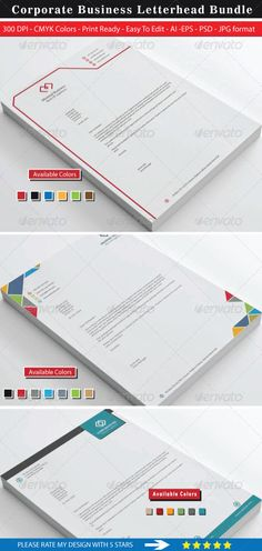 Minimal Corporate Business Letterhead Bundle - Stationery Print Templates