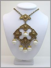 Vintage 1970's Chunky Gold-tone White Ball Revival Necklace.....a very large statement piece.