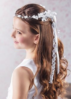 First Communion Floral Crown Vine headdress with Pearls and Organza Ribbon Trails - Emmerling 77180