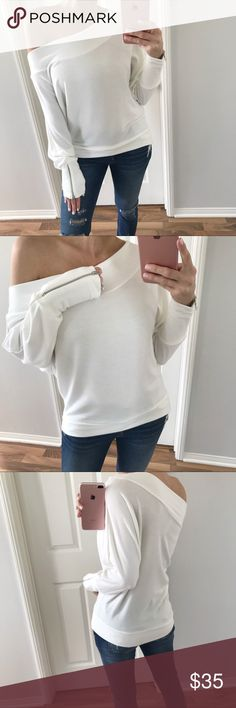 """🆕Fun White Zipper Dolman Chic & cozy! Same fabric as my yearly best selling lush dolmans. Dolman stretchy body, off the shoulder or 1 shoulder style top. Solid fabric that you'll just love against your skin. Functioning zippers on both sleeves. You'll want this in all 4 colors! 😍   ➖ITEM INFO➖ Length: 21"""" Pit to pit: 21""""  Fit: TTS Fabric: 48% Poly 48% Rayon 4% Spandex  Modeling: S Difference between each size: 1""""   ➖10% off 3+ items, using """"Self Checkout"""" only Tops"""
