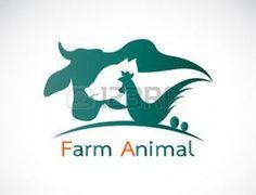 granja avicola: Grupo de vector de la etiqueta granja de animales - vaca, cerdo, pollo, huevo Vectores