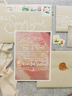 painted wedding invitations - photo by Sawyer Baird http://ruffledblog.com/romantic-north-carolina-beach-wedding