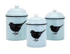 Trisha Yearwood Set/3 Songbird Blue Enamel Lidded Canisters w/ Black Birds,Cute! #TrishaYearwood
