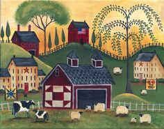 Primitive Red Quilt Barn Sheep Cows