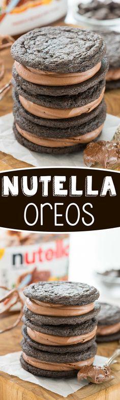 Homemade Nutella Oreos - this easy cookie recipe tastes JUST like an Oreo…