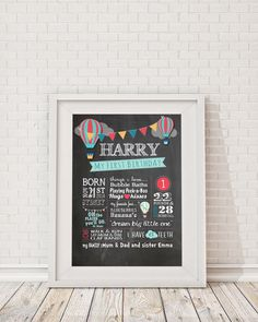 "First Birthday Hot Air Balloon Chalkboard Poster  Billboard, Milestone Poster, Birthday Boy ""Oh the places you'll go"" ""Dream Big Little One"" by ScissorsPaperPrint on Etsy https://www.etsy.com/listing/251316473/first-birthday-hot-air-balloon"